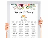 Paprika Table Plan, Personalised Wedding Seating Chart, Seating Arrangements, Autumn Wedding, A2 Size
