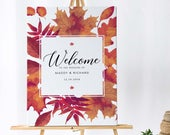 Autumn Wedding Welcome Sign, Autumn Wedding Sign, Fall Wedding Welcome Sign, Welcome to our Wedding Sign, Burnt Oak Collection