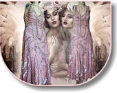 Art Deco Downton Abbey Vintage 1920s Embellished Beaded dusty Pink Floral Dress Evening Gown Size UK 14 16 US 10 12