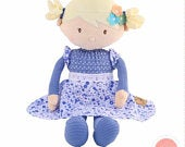 Blonde haired personalised rag doll with sweet blue floral dress