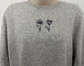 Flower Sweatshirt, Oversized Jumper, Jumper Dress, Gift Ideas, Rose Sweatshirt, oversized sweatshirt, Line Drawing, Rose Abstract