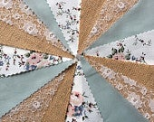Fabric Hessian Lace Bunting Pale Sage Handmade Wedding Shabby Chic from 10ft 40ft