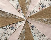 Fabric Hessian Lace Bunting Peach Handmade Wedding Shabby Chic from 10ft 40ft