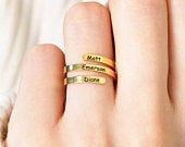 Family Ring Custom Name Ring Personalized Jewelry Mother Daughter Gift Stainless Steel Engraved Initials Ring For Best Friend