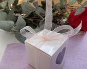 Favor Boxes Wedding Favors Wedding boxes DIY favors heart boxes sweets favors Peach Ribbon White Favor Boxes Engaged