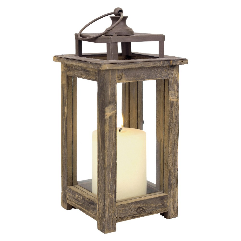 "11.8"" Rustic Wood Lantern Candle Holder - CKK Home Decor"