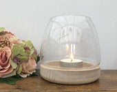 Rustic Clear Glass Tea Light Candle Holder Lantern Wooden Base Wedding Table Centrepiece Venue Decoration