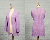 Ready to Ship ST TROPEZ Hand Knitted Ladies Cotton Lace Kimono Jacket in Lilac Spring Summer Wedding Small Up to UK 10 WJP081