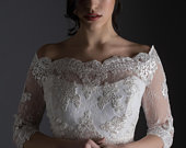 Wedding Bolero/Jacket Bianca Made with delicate lace in ivory, on which are handsewn additional lace applications Made to order