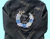 Wifey for Lifey Black Faux Leather Embroidered Bridal Wedding Jacket