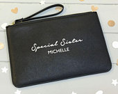Personalised Sister Gift, Special Sister Gift, Birthday Gift For Sister, Leather Look Personalised Clutch Bag, Gift For Sister In Law