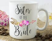 Sister Of The Bride Gift Mug, Thank you To My Sister On My Wedding Day, New Sister In Law Present, Coffee Mugs For Family Of The Bride