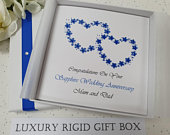 Luxury Sapphire 65th 45th Wedding Anniversary Card Handmade Personalised Wife Husband Parents Grandparents Friends Brother Sister in law