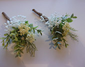 Gorgeous Wedding Buttonhole, Gyp, Babys breath, Eucalyptus, Cream blossom and foliage. Country style.