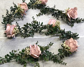 Artificial Eucalyptus Garland, Vintage Wedding Garland, Gypsophila Garland,Babys Breath Garland,Dusky Pink Rose Garland,Wedding Table Runner