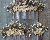 Lavender Twist Babys Breath Dried Flower Hair Comb