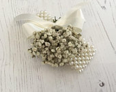 Dried flower wrist corsage PASIPHAE Gypsophila Babys Breath wedding prom