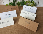 Personalized Wedding Party Place Cards Personalised tent style name cards crystal stone white ivory craft brown pink red blue silver rustic