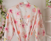 Pink Floral Plus Size Dressing Gown / Robe by Matchimony Bride/Bridesmaid/ Maid of Honour/ Maid of Honor