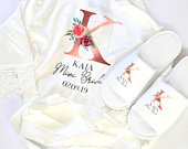 Personalised Lace Bridal Party Wedding Satin Silk Robe Slippers Set Rose Gold Name Dressing Gown Kimonos Bridesmaid Gifts, Maid of Honour