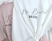 Bridesmaid robe, bridal robe, Satin lace wedding robe, personalised, bridal gown, nightgown, mother of the bride robe, wedding robe,