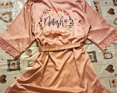 Bridesmaid Robe, Personalised Wedding Dressing Gowns, Bridal Party Robes, Lace Satin Robes