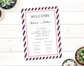 Striped Rose Wedding Program Printable Program Template, Pink and Navy Wedding, Floral Wedding, Order of the Day, Order of Service