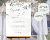 Olive printable wedding order of events sign template, editable wedding day program poster, instant download GAIA
