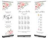 Blush Pastel Floral Flowers Wedding Pull Roll Up Roller Banner Sign/Welcome/Table Plan/Timeline