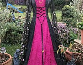 FREE CHOKER Wiccan Black Gothic steampunk ball gown meadow boho renaissance Vampire medieval pagan Celtic handfasting gown / wedding dress