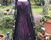 Bespoke steampunk black and burgundy goth meadow boho witch pagan medieval wedding gown / dress size 26 to 38