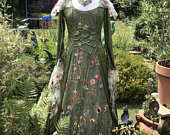 Hooded lady of the greenwood summer meadow boho gown moss green renaissance medieval pagan Celtic handfasting wedding gown / dress 8 to 14