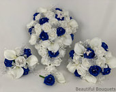 Artificial wedding bouquets flowers sets white royal blue