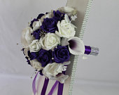 Artificial Purple White wedding bouquet singles and packages