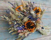 Tuscan Meadow Dried Flower Wedding Bouquet with Sunflowers