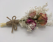 Pretty in Pink Rose Boutonniere Dried Wedding Flowers Dried Event Flowers Festival Prom Handmade