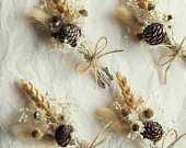 set of 4 dried floral boutonniere wheat buttonhole groomswear boho wedding rustic wedding wedding accessories everlasting flowers