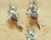 set of 3 dried floral boutonniere wheat buttonhole groomswear boho wedding rustic wedding wedding accessories everlasting flowers