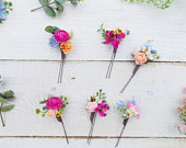 Flower hair pin hair comb bobby pins buttonhole boho rustic wedding boutonniere headpiece Summer Autumn bridal hair accessories