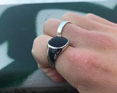 Mens Ring Black Onyx Ring Silver Polished Ring Man Ring Silver Signet Ring Men Jewelry For Him Gift Stainless Steel Ring