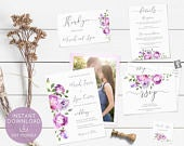 Wedding Invitation, Wedding Invitation Template, Set Printable, Bundle, Lilac Lavender Floral, with Picture, LDS Wedding