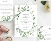 Eucalyptus Wedding Invitation Template, Printable Invite, RSVP and Details, INSTANT DOWNLOAD, 100% Editable Text, Foliage, Templett, GRN638