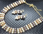 3 Colour Pearl and Crystal necklace and earring Jewellery Set Rhinestone Diamante choker Bib Collar Vintage style Wedding Bridal