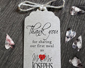 Personalised Wedding Card Tags Thank You For Sharing Our First Meal Napkin Ties Contemporary Red