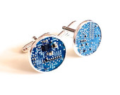 Motherboard cufflinks geek blue silver plated computer circuitry steampunk cyberpunk techno up cycled recycled circuit board