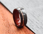 Grey maple wooden wedding ring with padauk wood core and copper inlay wedding band