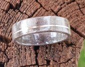 Grey Figured Sycamore Wedding Ring with Stirling Silver Inlay