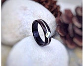 Wood Ring Ebony, Abalone Sterling Silver Made to order All US and UK Ring Sizes
