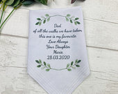Personalised Hankie, Father Of The Bride Handkerchief Gift, Dad Gift, Wedding Hankie, Wedding Hanky, Personalised Wedding HankerChief,