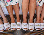 Bridesmaid Slippers Personalised Wedding Slippers Bride slippers , Bridesmaid Gift, Bridal Party , Hen Weekend Open Toes Spa Slippers